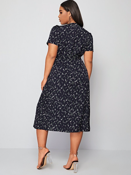 Floral Tie Side A-line Dress
