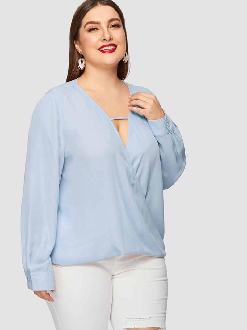 Plunging Neck Wrap Front Top