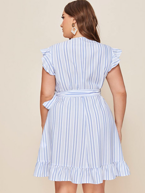 Ruffle Hem Wrap Belted Striped Dress
