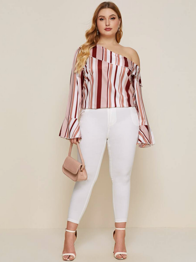 Striped Foldover Sleeve Blouse