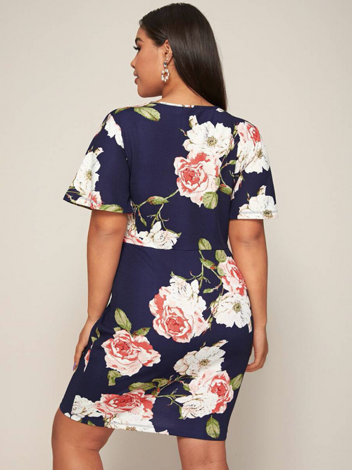 Surplice Neck Butterfly Sleeve Floral Dress