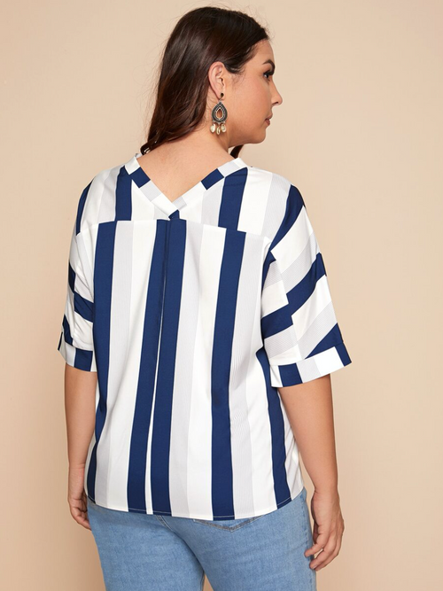 Vertical Stripe Print V-Neck Blouse