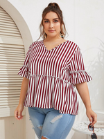 Vertical Striped Sleeve Peplum Blouse