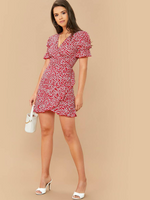 Puff Sleeve Belted Wrap Dress