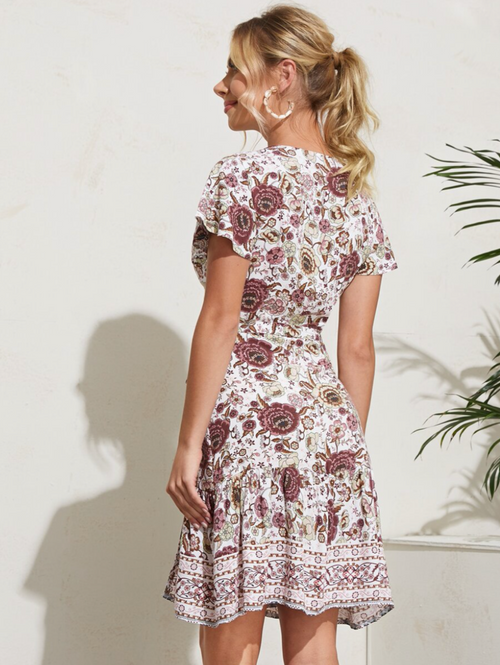 Ruffle Hem Wrap Belted Floral & Tribal Dress