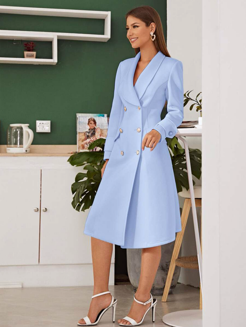 Shawl Collar Double Breasted Blazer Dress