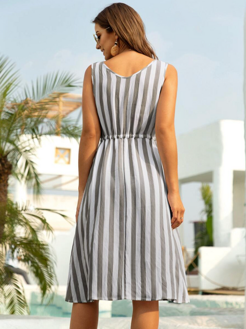 Striped Drawstring Waist Sleeveless Dress