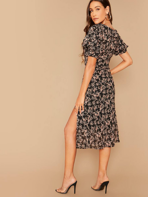 Sweetheart Puff Sleeve High Split Floral Dress