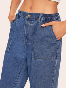 Elastic Waist Pocket Detail Jeans