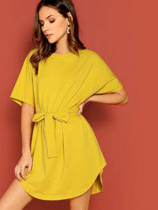 Curved Hem Belted Solid Tee Dress