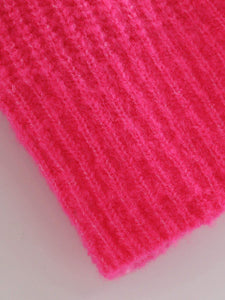 Neon Pink Turtleneck Drop Shoulder Jumper
