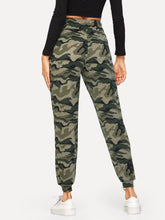 Load image into Gallery viewer, Drawstring Waist Camo Print Pants