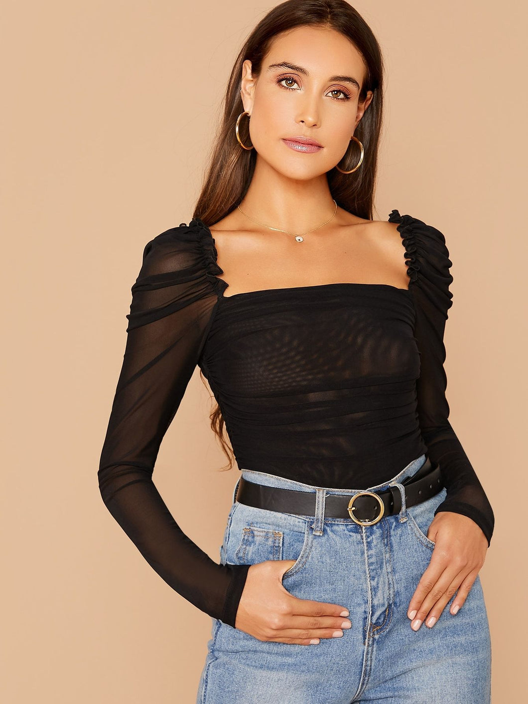Gigot Sleeve Square Neckline Ruched Top