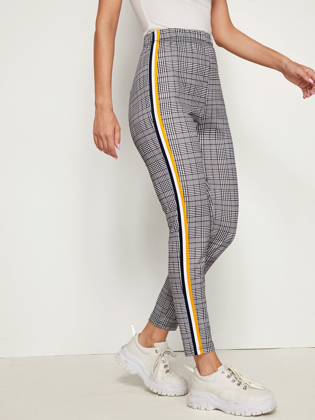 Plaid Side Stripe Pants