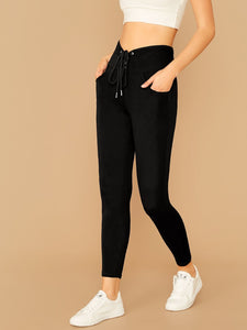 High Waist Lace Up Leggings