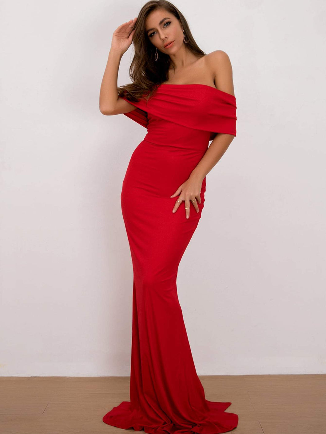 Fold Over Neckline Gown