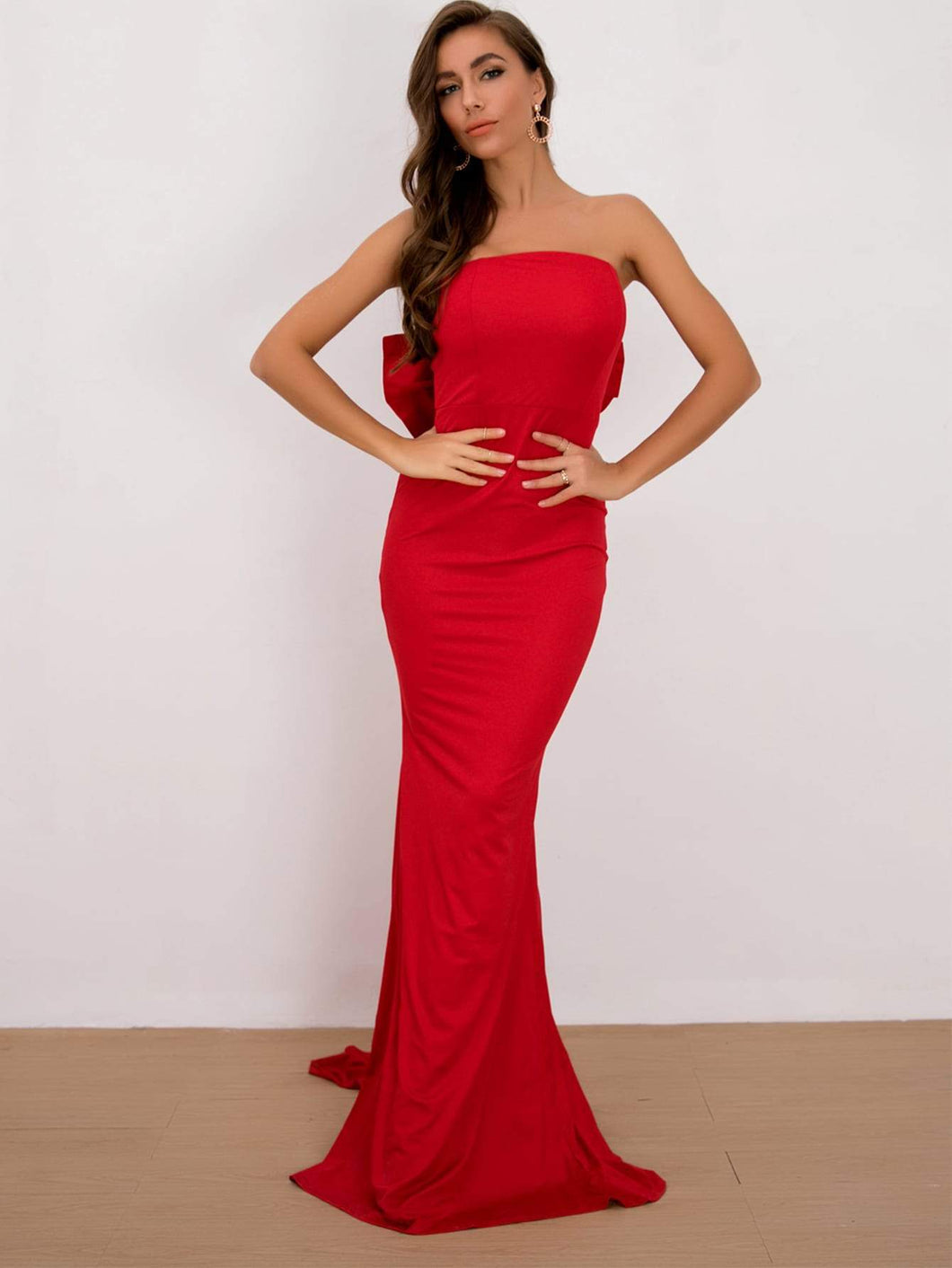 Bow Back Strapless Gown