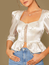 Load image into Gallery viewer, Satin Puff Sleeve Top