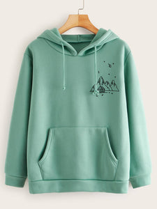 Graphic Print Drawstring Hoodie with Front Pocket