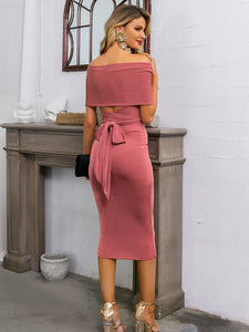 Bardot Top With Tied Back & Pencil Skirt Set