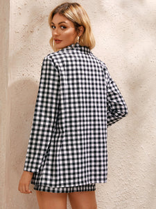 Gingham Pattern Blazer & Mini Skirt