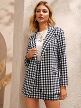 Load image into Gallery viewer, Gingham Pattern Blazer & Mini Skirt