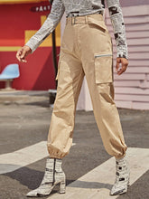 Load image into Gallery viewer, Side Pocket Silver Zip Belted Cargo Pants