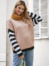 Load image into Gallery viewer, Stripe Sleeve Turtle Neck Sweater