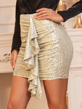 Load image into Gallery viewer, Gold Ruffle Front Mini Skirt