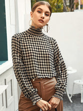 Load image into Gallery viewer, High Neck Checker Blouse