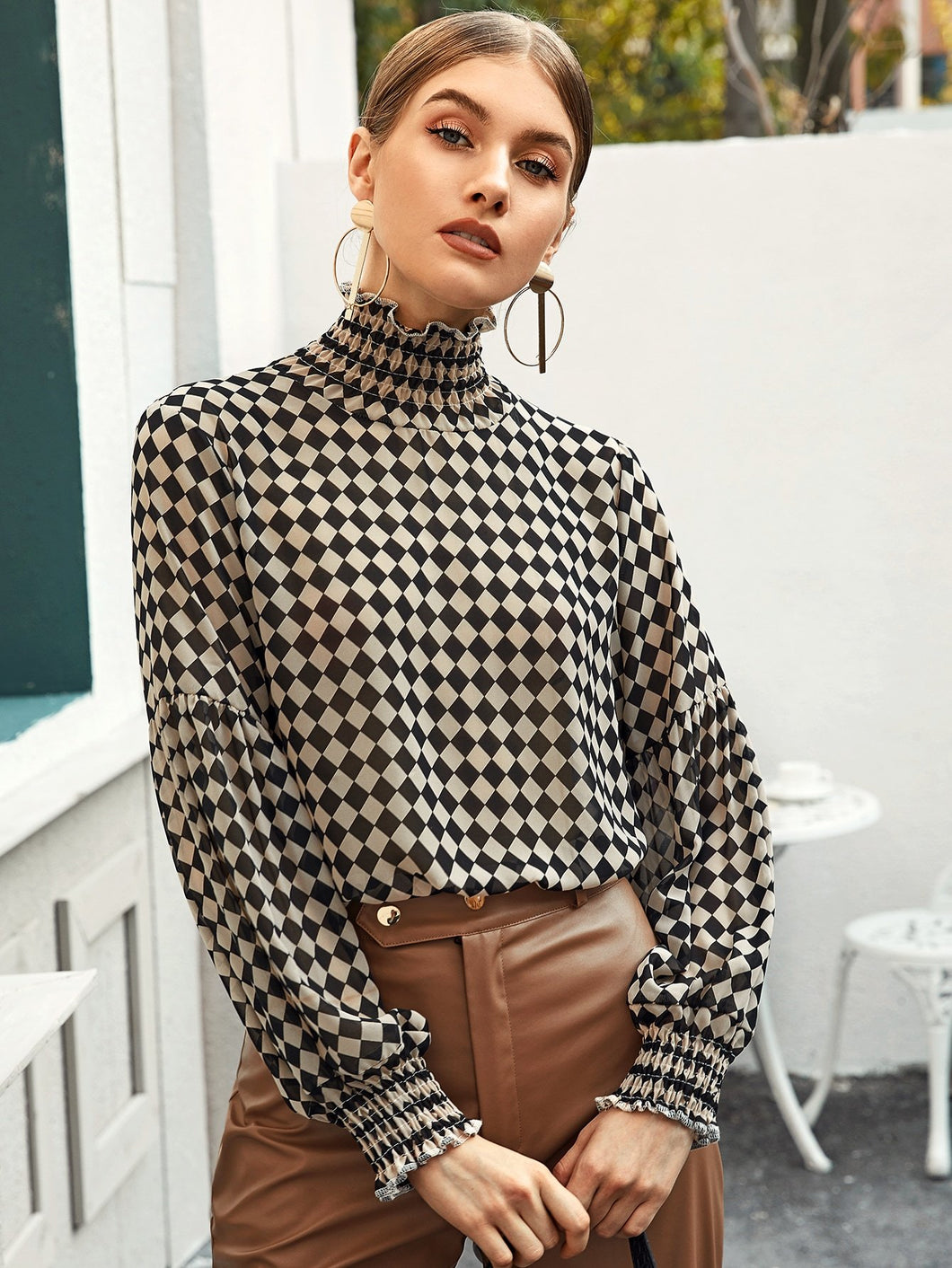 High Neck Checker Blouse