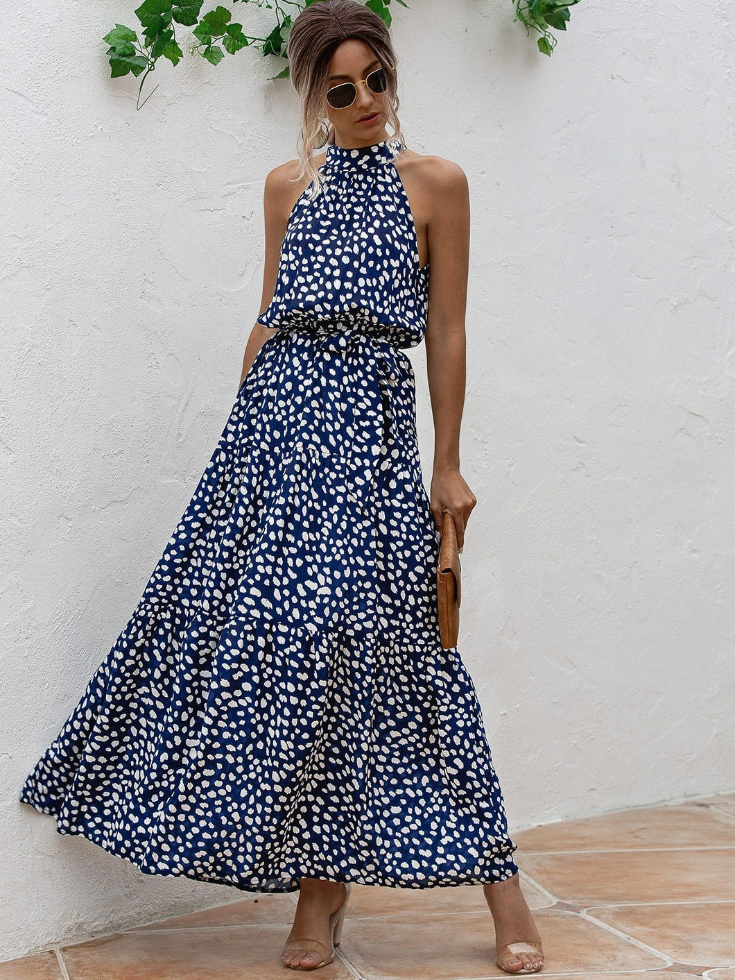 Polka Dot Belted Halter Dress