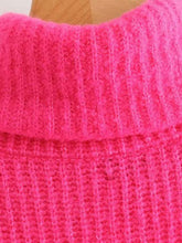 Load image into Gallery viewer, Neon Pink Turtleneck Drop Shoulder Jumper