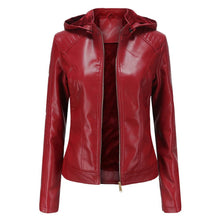 Load image into Gallery viewer, Violetta Hooded Leather Jacket