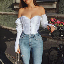 Load image into Gallery viewer, Off the Shoulder Fitted Bodice Long Sleeve Blouse