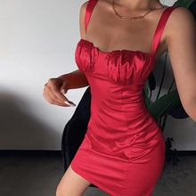 Load image into Gallery viewer, Ruched Bust Satin Mini Dress