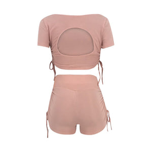 Drawstring Side Crop Top and Spanx Shorts Set
