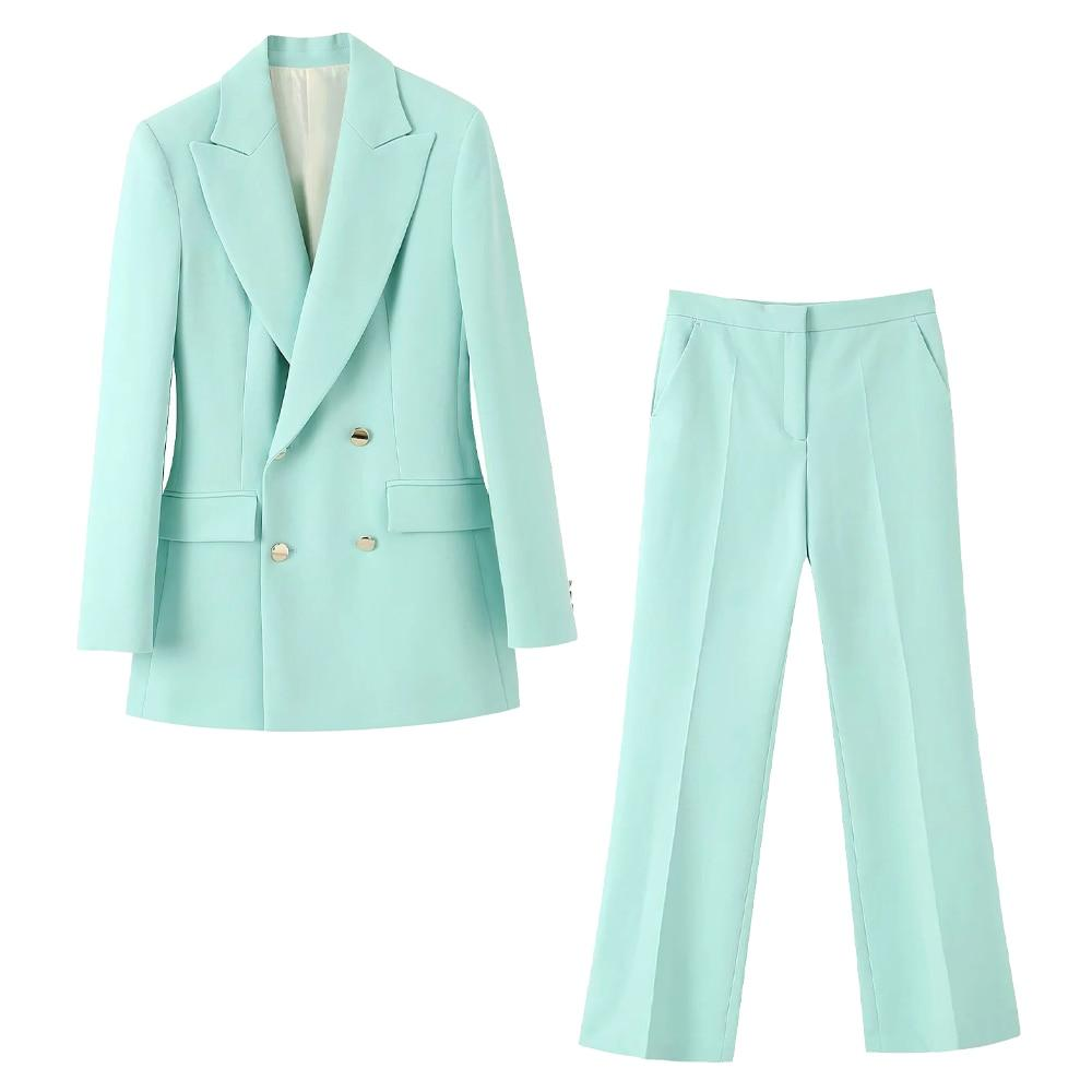 Ice Blue Blazer and Pants Office Set
