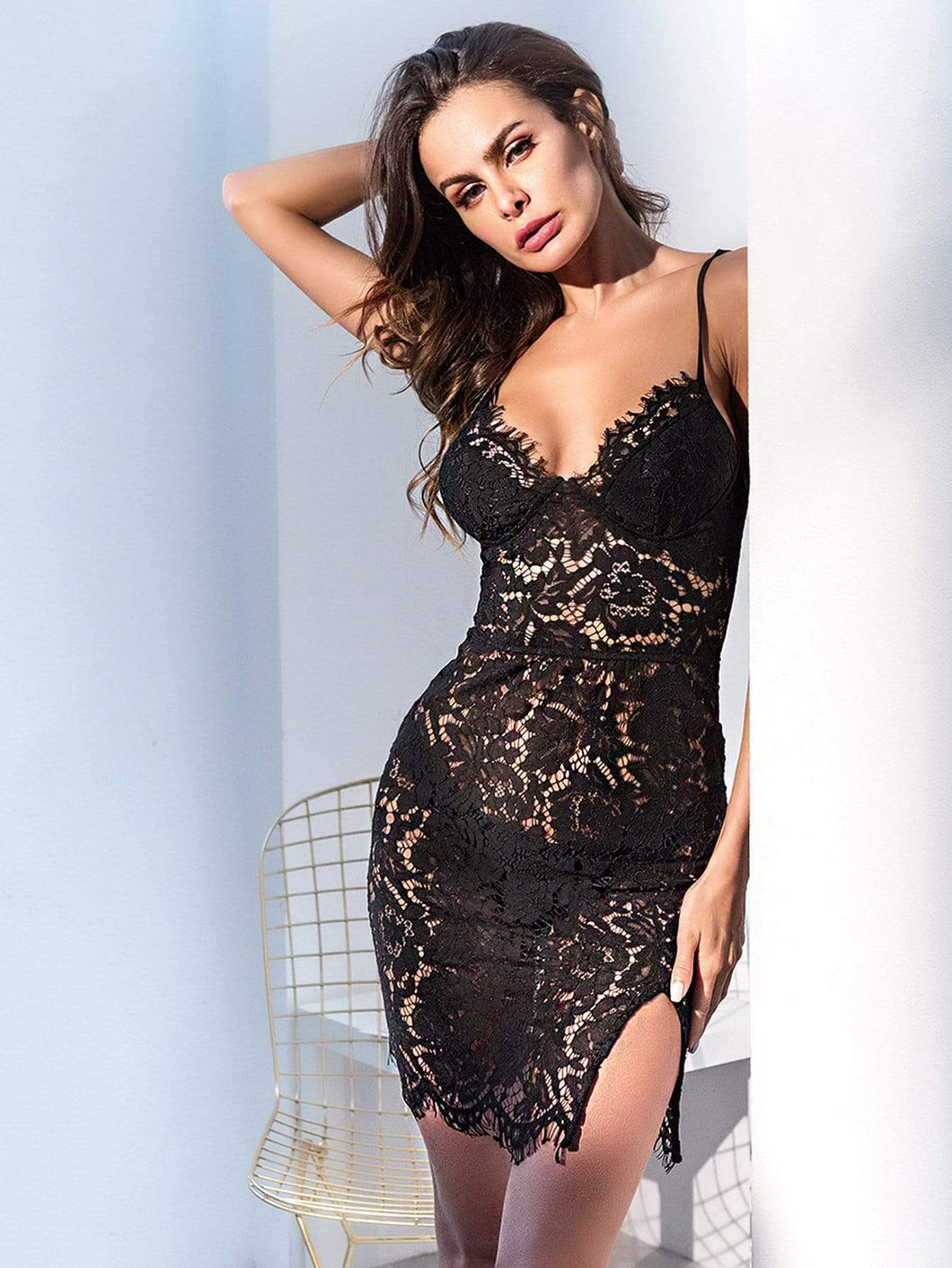 Slit Side Lace Bustier Bodycon Dress