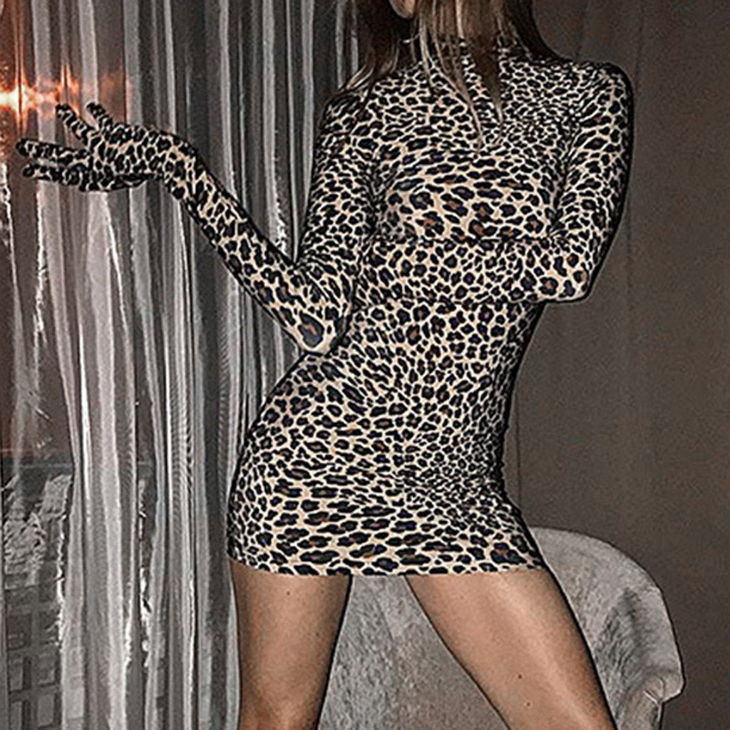 Mock Neck Leopard Glove Mini Dress