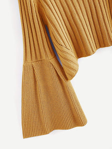 Rib Knit Fluted Sleeve Sweater