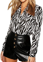 Load image into Gallery viewer, Button Up Zebra Print Blouse