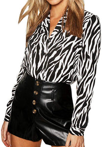Button Up Zebra Print Blouse