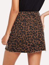 Load image into Gallery viewer, Leopard Print Rip Detail Skirt
