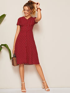 Polka Dot Button Front Shirred Waist Dress