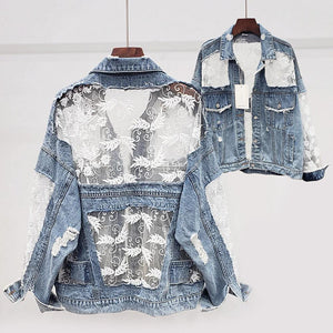 Beatrice Lace Denim Jacket