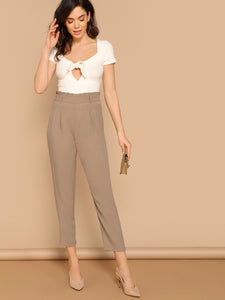Frilled High Rise Pleated Front Pants