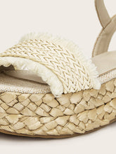 Load image into Gallery viewer, Fringe Trim Woven Espadrille Sandals