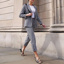 Load image into Gallery viewer, Gingham Print Blazer and Pants Set