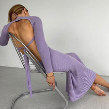 Load image into Gallery viewer, Rib Knit Backless Maxi Dress